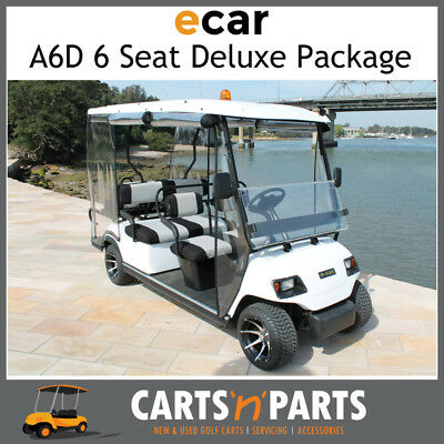 E-Car A6D 6 Seat Golf Cart Deluxe package Folding Tray Rear Seat with Seat belts