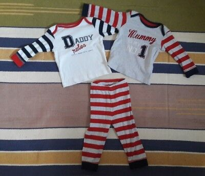 Mothercare 'Daddy Mummy' Baby Boys Snuggle Fit Pyjamas 9-12 Months