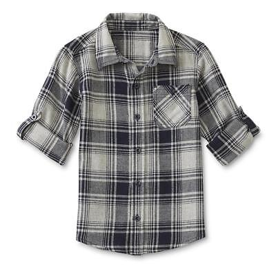 Toughskins 24 Months Navy Blue Flannel Button Front Shirt Baby Boy Clothes