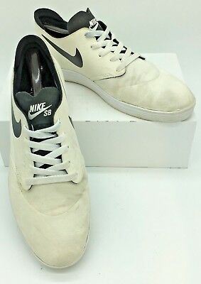 Nike Mens SB Lunar Oneshot Skateboarding Shoes 631044-101 sz 10 US 44 EU White