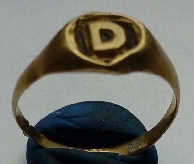 Old Bronze Hart Shaped Ring D Engraved In Middle