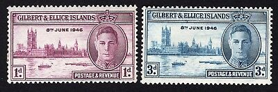 Gilbert & Ellice Islands 1946 group of two stamps Mi#50-51 complete MH