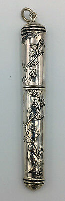 Sterling Silver NEEDLE CASE Necklace Pendant SEWING Pin Holder VINE Vintage GIFT
