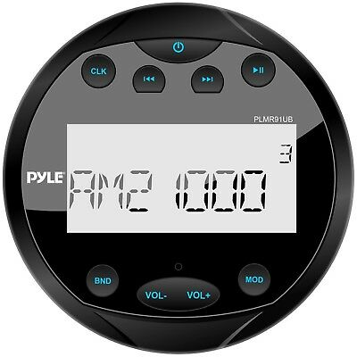 Pyle Round Waterproof Marine Stereo - 4x28 W Aquatic Boat In Dash Gauge Radio...