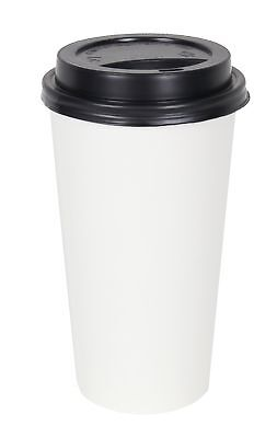 2dayShip 50 Pack WHITE Paper Coffee Hot Cups with BLACK Travel Lids - 20 ounce