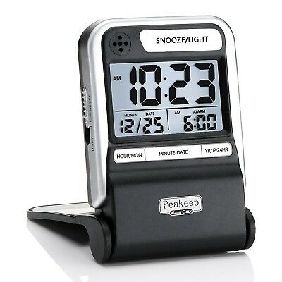 Peakeep Ultra Compact Battery Travel Alarm Clock with Calendar, Ascending Bee...
