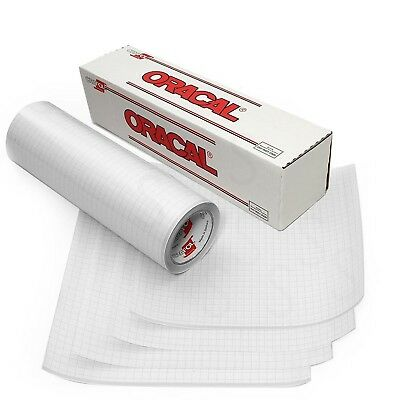 """Oracal 12"""" X 25' Feet Roll CLEAR Transfer Tape w/ Grid for Adhesive Vinyl   V..."""