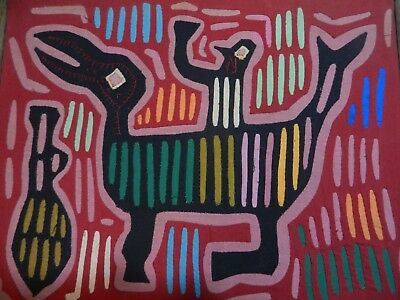 Mola Textile by Kuna Indian Artist, depicting Man On Mythical Deamon 1940-1950s
