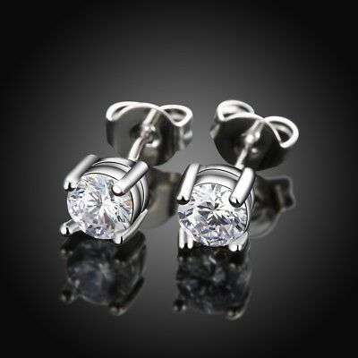 Stainless Steel Push Back Stud Earrings Simulated Round Cubic Zirconia Center