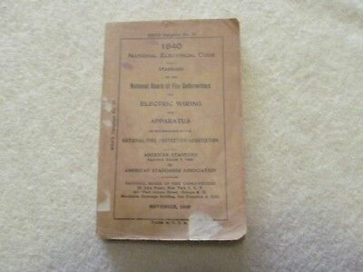 RARE 1940 NATIONAL Electric Code book NBFU Pamphlet # 70 pre WW2 ...