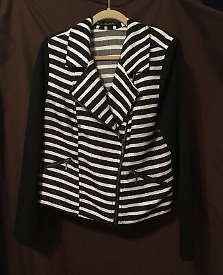 Maurice's + Black & White Striped Jacket  Blazer Women's Plus Size 0