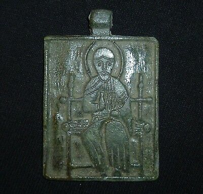 BYZANTINE Ancient BRONZE two-sided Religious AMULET Circa 1000-1200 AD     -A763