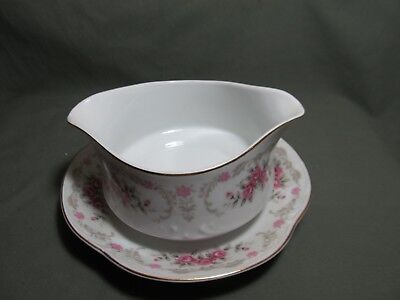 Harmony House Cascade Gravy Boat with attached underplate