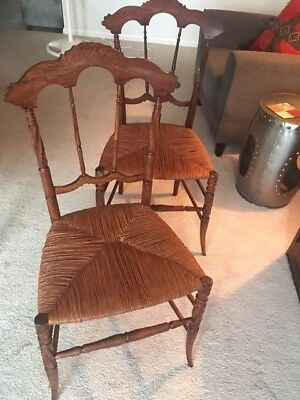 Two Vintage Hand Carved Solid Wood Chairs - Excellent Condition!