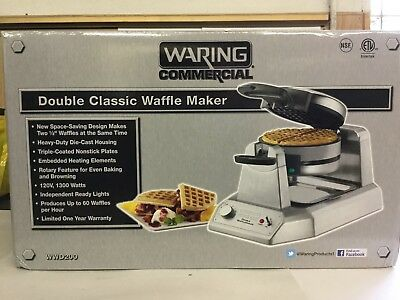 Waring WWD200 Double Non-Stick Commercial Waffle Maker NEW IN BOX