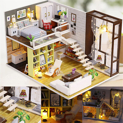 Modern Doll House Miniature Diy Kit Dollhouse Led Light Music Gift W
