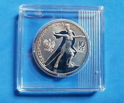 Polen 10 Zloty 2006 Silber PP/ Proof- Olympia 2006 Turin- Paarlauf