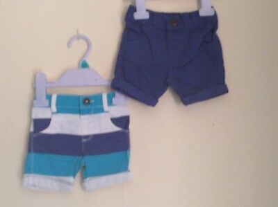 2 Pairs Of Boys Summer Shorts Size 0-3
