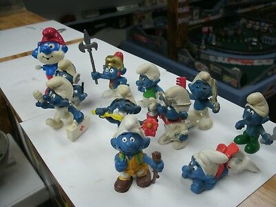 Vintage Smurfs 10 Pvc And One Wind Up Papa Smurf Working