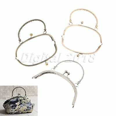 Bronze/Sliver/Light Gold Arch Flower Purse Bag Frame Kiss Clasp Lock With Handle