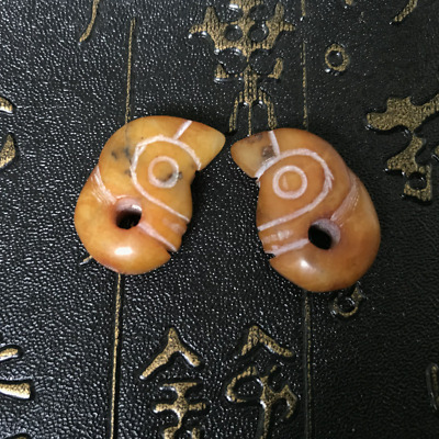 2Pcs Hongshan Culture Exquisite Hand-carved lucky Ancient jade pendant