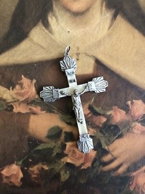 Antique French France Sterling Silver Deco Bakelite Cross Crucifix Large