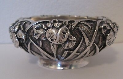 Antique Ornate Japanese Sterling Silver Bowl Signed Marked High Relief Meiji #2