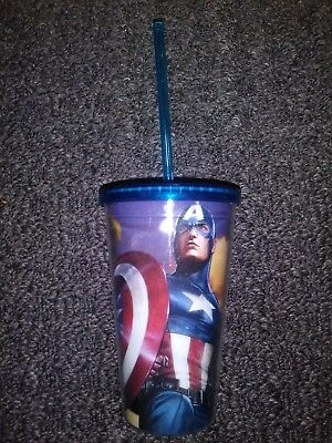 NEW Licensed Marvel Captain America Carnival Cups lids and straws 16oz lot of 2