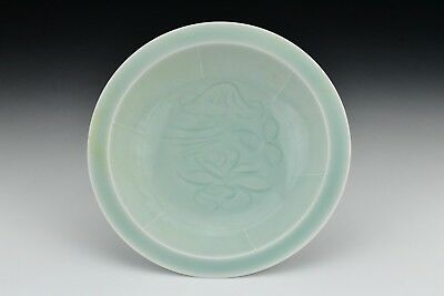 hiChinese Porcelain Dish Pale Celadon Glaze with Carved Designs