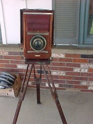 Antique CONLEY  Folding Camera W/ Lens Wood & Brass & Tripod  June 14  1910