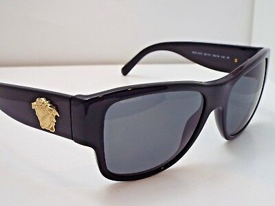 510264f01d1 Authentic VERSACE VE4275 GB1 81 Black Grey Solid Polarized Sunglasses  345