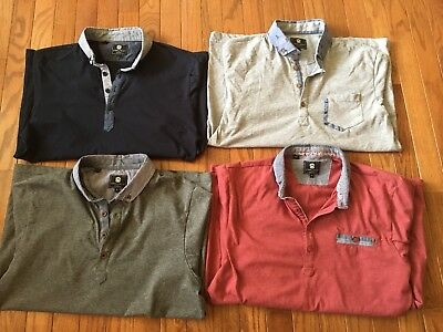 Lot of 4 Steel & Jelly Polo Shirts - Contrast Collar - Men's Small, Medium