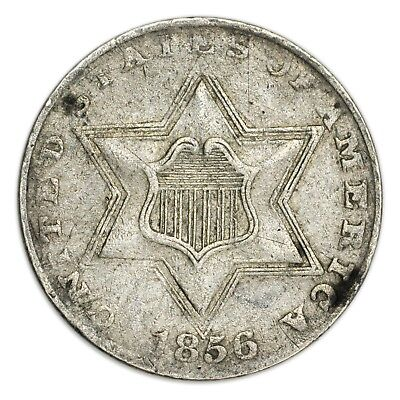 1856 Silver Three Cent Piece, Small, Rare Coin, 3c [3670.09]