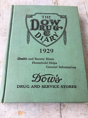 Vintage 1929 The Dow Drug Co. Diary Filled In Health & Beauty Collectible Book
