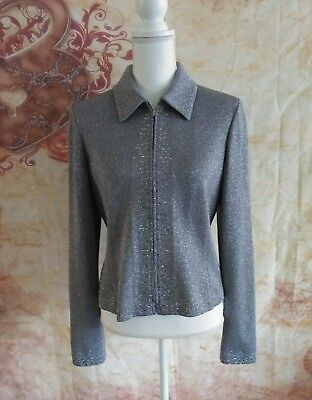 St John Evening beaded dress knit jacket size 10 zipper sparkly shimmer Womens