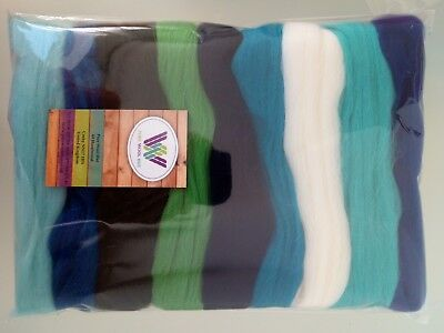 Ocean set* Pure Wool Tops for Felting, 9 colours: white blue lilac navy; 90g