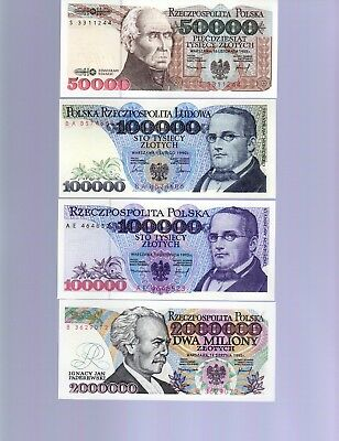 Poland Lot:  Four (4) Notes  (1990 - 1993)   All Uncirculated