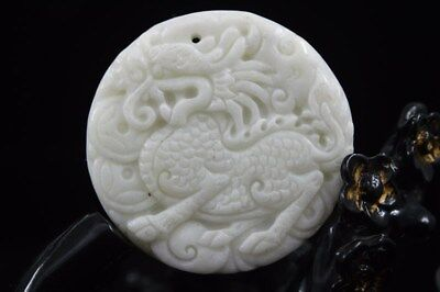 Collect Chinese natural old whitem Jade Carved Amulet Pendant Kirin 32