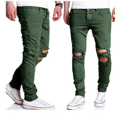 Men Boys Jeans Ripped Slim Fit Stretch Denim Destroyed Distress Biker Jeans