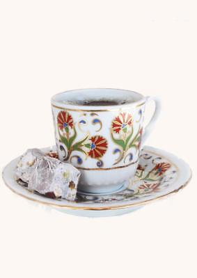 Turkish Coffee Cups with Saucers - Flower Design - 2 sets