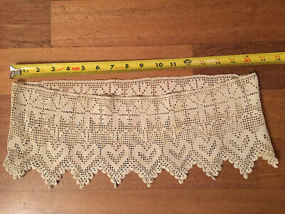 Vintage Victorian Ivory Lace Intricate Round Hearts & Clovers Collar/waist