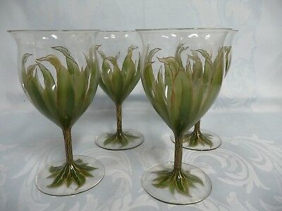 Four Most Amazing Antique Theresienthal Bohemian Enameled Wine Glasses