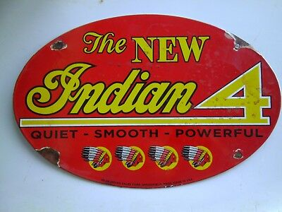 Indian 4 Porcelain Motorcycle sign