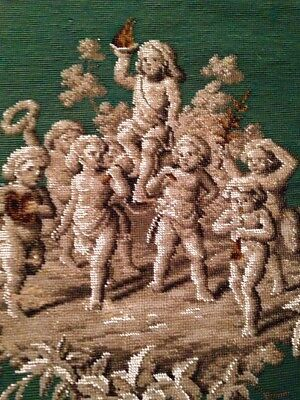 Gorgeous Antique Victorian Beadwork Beaded Needlepoint Cherubs