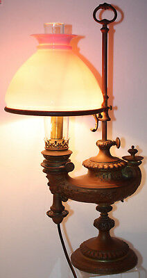 Antique Wild & Wessel Berlin Student Harvard Lamp Electrified & Pink Cased Shade