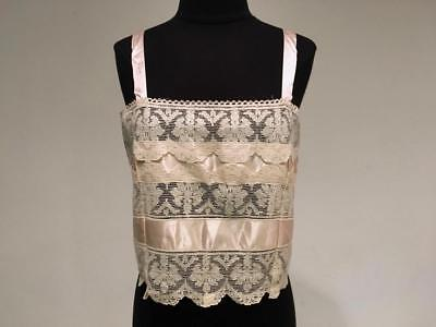 1920's Brassiere- Corset Cover  - Camisole with Filet Lace and Pink Silk Ribbon