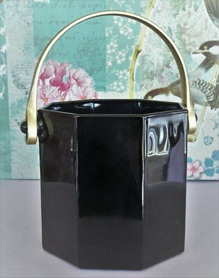 Retro/Vintage *ARCOROC - OCTIME - FRANCE* Black Glass ICE BUCKET & Brass Handle