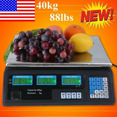 88Lbs Digital Weight Scale Price Computing Retail Food Meat Scale Count Scale EK