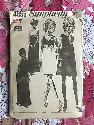 SIMPLICITY 7855 sewing pattern 1960s COMPLETE vintage retro Miss Dress