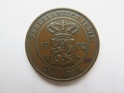 1902 Netherland East Indies Copper 2 1/2 Cent Coin Excellent Condition Indonesia